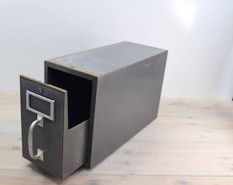 Card Catalog  Industrial Grey, Metal Case,