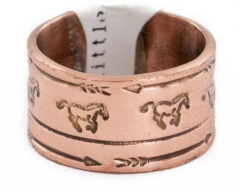 90 Retail Tag Pure Copper Handmade Authentic Horse Made by Robert Little Navajo Native American Ring  16996-1