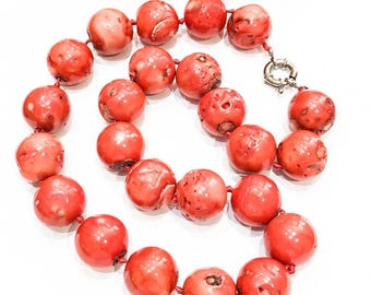 Chunky Orange Bamboo Coral Necklace