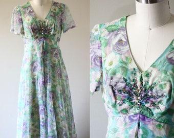 1960s floral maxi dress // 1960s sheer dress // vintage dress
