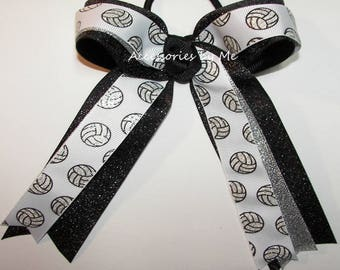 Bulk Price, Volleyball Bow, Sparkly Black Silver Ponytail Holder Hair Streamers, Volleyball Team Hair Bow, School Spirit, Wholesale Discount