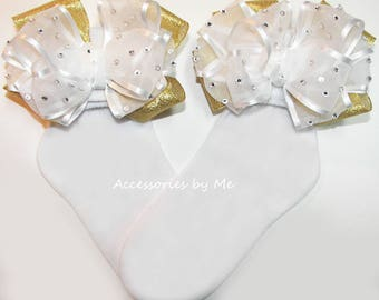 Glitz Pageant Socks, White Gold Socks, Organza Satin Sparkly Bow Socks, Baby Girl White Gold Bow Socks, Toddler Over the Top Communion Socks