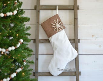 Leather Christmas Stocking - Brown Faux Leather and Velvet Stocking - Rustic Stocking, Masculine Stocking, Stockings, Country Stocking