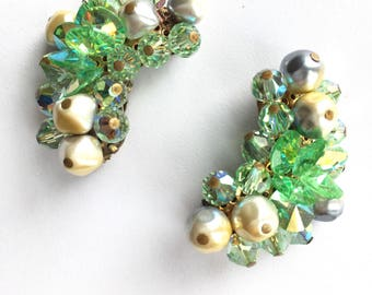 1940s Laguna Earrings Vintage Laguna Clip On Earrings Green Crystal White Pearl Gray Pearl Vintage 1940s Women's Fashion Costume Jewelry