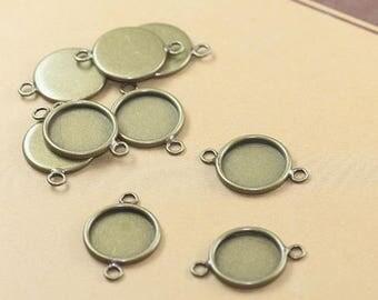 Bulk 20 pcs pendants connectors settings bezel blanks Brass base bronze tone