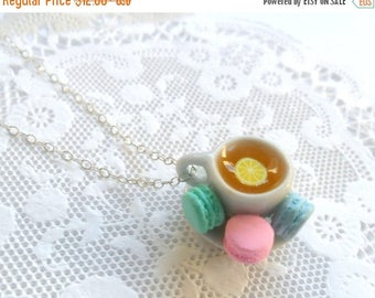 ON SALE Lemon Tea Cup and Saucer with Macarons Necklace, Cute, Kawaii, Choice of Sterling Silver, Stainless Steel, or Silver Plated Chain :)