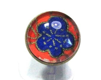 Flower blue, gold, orange ring cabochon, Japanese paper