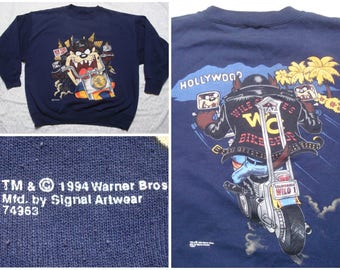 Vintage Retro Men's 90's Taz Looney Tunes Sweatshirt Blue Crewneck Motorcycle Hollywood Tasmanian Devil Large XL Made in USA