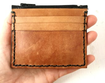 Mens Leather Wallet, minimalist wallet with 8 card slots, zipper coin pouch, 3rd anniversary gift for him gift for husband - Ready to Ship