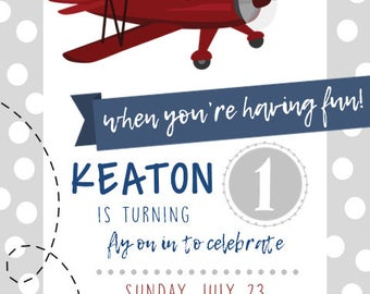Airplane Birthday Invitation Digital File ONLY