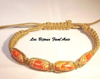 Bracelet macrame Brown wood beads and adjustable