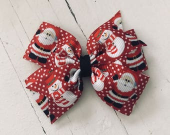 "3"" Santa Snowman Pinwheel Bow"