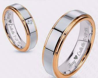 Engraved Ring, Custom Rings, Gold and Silver Tungsten Couple's Ring Custom Engraved, Promise Ring, Personalized Rings, His And Hers Rings