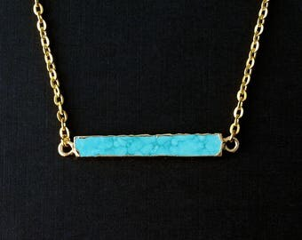 Small Turquoise Bar Necklace, Turquoise Gold Necklace