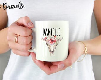 Custom Name Mug, Personalized Mug, Boho Name Mug, Floral Name Mug
