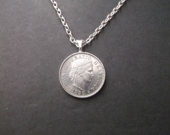 Switzerland Helvetica  Coin Necklace -1999 Coin Necklace Swiss Coin Pendant with Bail and Chain