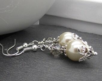 Beige Pearl Bridesmaid Earrings, Pearl Wedding Earrings, Matching Bridal Sets, Beige Wedding Jewellery, Bridal Party Gift, Beige Pearl Drops