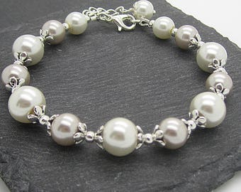 Taupe and Ivory Bridesmaid Bracelet, Beige Wedding Pearl Jewellery, Beige Bridal Bracelets, Matching Pearl Sets, Bridesmaid Gift Ideas