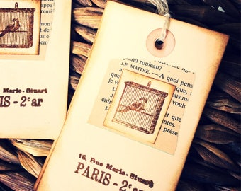 10 Shabby Chic Tags, French Bird, Market Style, Shabby Chic Tags, Handmade Tags,Gift Tags,Vintage Style Tags