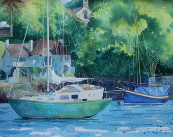 watercolour of Flushing, original boat painting, summer sailing, sailing boat, Falmouth, Cornwall, nautical painting, seascape,