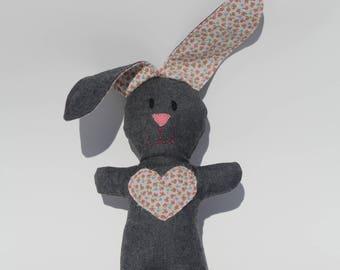 Stuffed Bunny Friend Gray Wool Stuffed with Organic Cotton