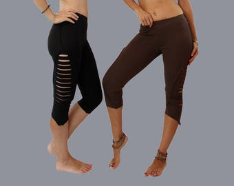 Psytrance leggings - Pixie Leggings- Organic cotton  - Slashes Tights - Black  - Party - Women - Gothic - psytrance goa- Punk - Cut Out