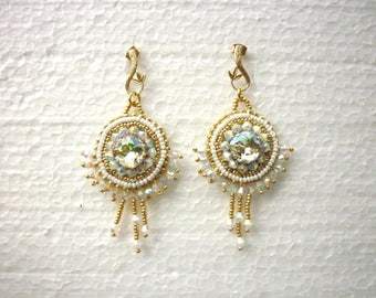 White and gold embroidered earrings, Swarovski crystal