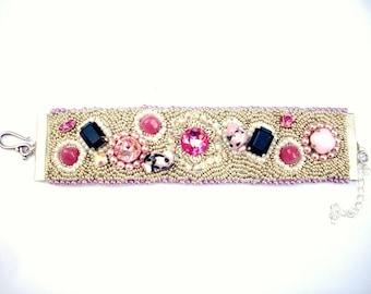 Embroidered cuff bracelet pink, black and silver Swarovski crystal