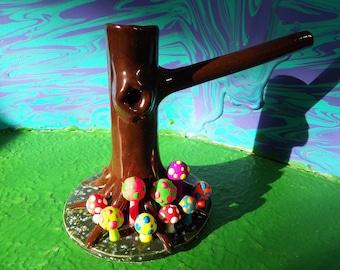Trippy Hippie Tree Trunk shroom tobacco pipe DARK brown