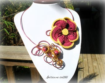 Aluminum and big knitted flower SERVANE necklace * CO388