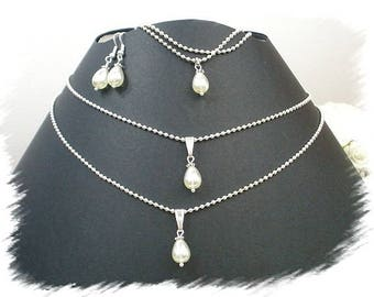 PA61 set wedding white necklace bracelet earrings