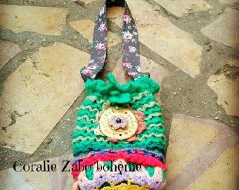sac bohème-petit sac bourse au crochet fait-main laine,tissu,mohair,coton,céramique