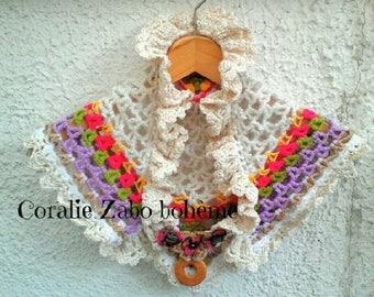 Petit châle femme au crochet-couvre-épaules multicolore coton et laine unique