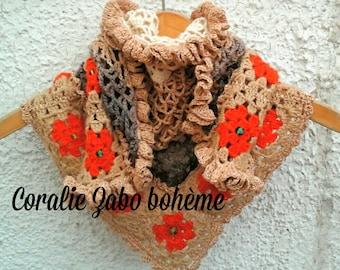 Chèche châle femme au crochet fait-main-chèche laine, coton, laine chanvre, perles cristal, perles de verre