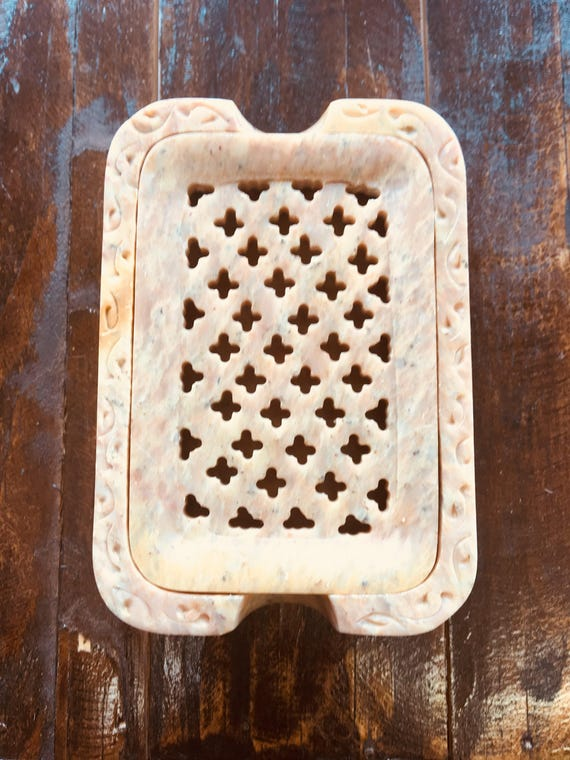 STONE SOAP DISH {Hand Carved Artisan Made Beautiful Natural Stone, Variety of Colors}