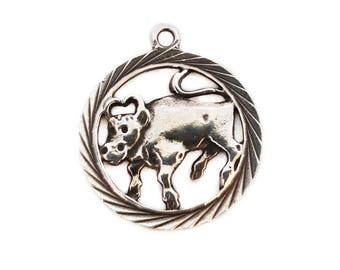 Vintage Sterling Silver Zodiac Taurus Charm