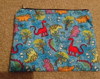 """Handmade Lined Zipper Pouch Blue Dinosaurs  8. 5"""" x 6"""""""