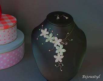 """Set jewelry """"Milfleurs"""" * flowers of silk and pearls"""