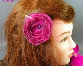 Fancy fuchsia reflection plum organza flower hair clip