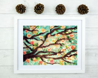 Tree blossoms art print - tree art, nature wall art, tree landscape art, tree branches art, tree wall decor by Ellen Brenneman