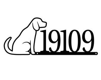 19109 Dog House Number Metal Sign