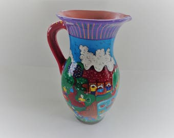 Handpainted Clay Pitcher 1970's Decorative Pitcher Mexican Village