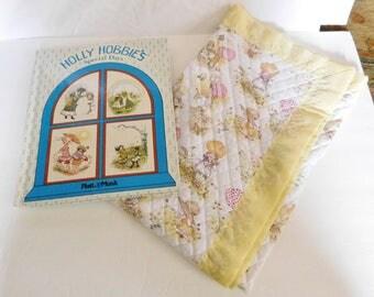 vintage HOLLY HOBBIE baby quilt blanket & hardcover book