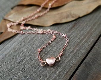 Rose gold choker - rose gold choker necklace - rose gold jewelry - tiny heart necklace - rose gold heart necklace - heart choker necklace