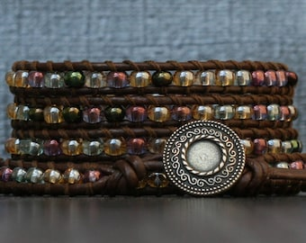 wrap bracelet- soft shades pastel mixed color glass beads on dark brown leather- multicolor - boho gypsy bohemian beach yoga