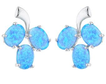 Blue Opal Oval Shape Design Stud Earrings