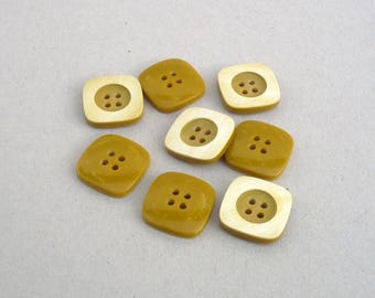Mustard Yellow Buttons , Square Buttons  , 20 mm  Buttons  ,Two Tone  Buttons ,Sewing And Needlecraft Supplies