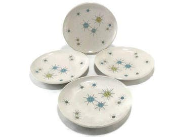 Vintage Franciscan Starburst Dinner Plates* Atomic Age Plate * Mid Century Dishes * Set of 4