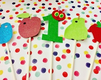 Hungry Caterpillar Cake or Cupcake Topper for Baby Shower or Birthday Party