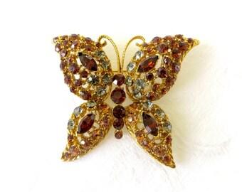 Rhinestone Butterfly Brooch, Amber Rhinestones, Vintage Butterfly Jewelry